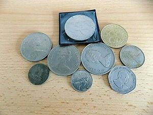 SELECTION OF COIN MEDALS QUEEN ELIZABETH CROWNS BRAZIL AQUEDUC ROMAIN DE NIMES