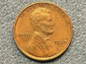 1939 D LINCOLN WHEAT CENT ALMOST UNCIRCULATED AU