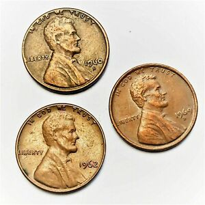 LINCOLN MEMORIAL ONE CENT LOT OF 3 COINS. 1960 D     1962 P     & 1969 D.