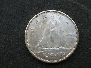 1966 CANADIAN BUSINESS STRIKE SILVER 10 CENT COIN
