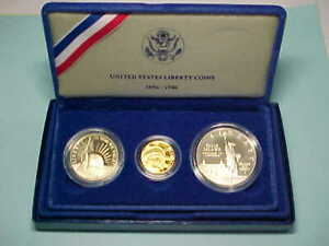 Click now to see the BUY IT NOW Price! UNITED STATES PROOF SET LIBERTY 50 CENT $1.00 & $5.00 GOLD COINS 1986 S & W