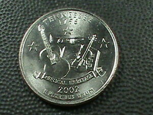 UNITED STATES 25 CENTS 2002 P UNC TENNESSEE COMBINED SHIP .10 CENTS USA  .29 INT