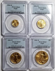 Click now to see the BUY IT NOW Price! 2006 W GOLD EAGLE SET 4 COINS PCGS MS69 BURNISHED UNCIRCULATED LOW MINTAGE