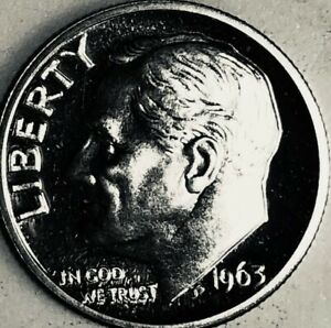 1963 FROSTY ROOSEVELT DIME PROOF RAW GEM 90  SILVER COIN  75