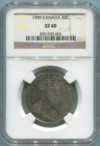 Click now to see the BUY IT NOW Price! 1909 CANADA SILVER 50 CENTS. NGC XF40.  DATE