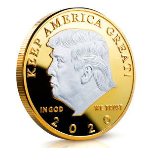 DONALD J. TRUMP 2020 CHALLENGE COIN  CASE KEEP AMERICA GREAT SILVER&GOLD 40MM YU