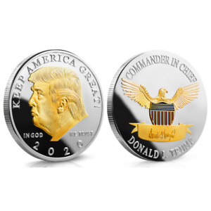 US PRESIDENT DONALD TRUMP 2020 KEEP AMERICA GREAT SILVER & GOLD TWO TONE COIN YU