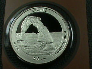 UNITED STATES 25 CENTS 2014 S PROOF  ARCHES  COMBINED SHIP .10 CENTS USA .29 INT