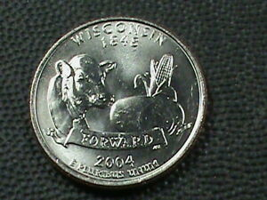 UNITED STATES 25 CENTS  2004 P WISCONSIN  UNC COMBINED SHIP.10 CENTS USA .29 INT