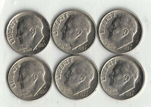 1984 D ROOSEVELT DIME LOT OF 6