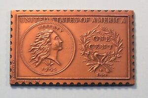 1793 UNITED STATES FLOWING HAIR WREATH LARGE CENT NUMISTAMP MEDAL COIN 1978 REED