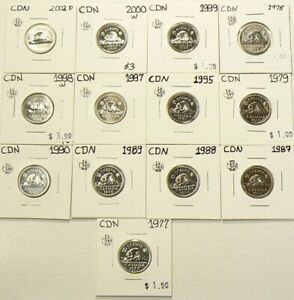 1977 TO 2002P CANADA 5 CENTS LOT OF 14 FROM SETS UNC 5216