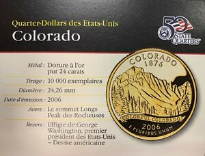 QUARTER DOLLAR 2006 COLORADO GOLD END 24 CARAT