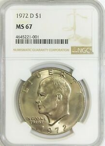 Click now to see the BUY IT NOW Price! 1972 D EISENHOWER DOLLAR   NGC MS67   POP OF 6   NONE HIGHER