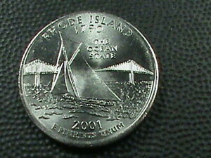 UNITED STATES 25 CENTS  2001 D  UNC RHODE ISLAND COMBINED SHIPPING .10 CENTS USA