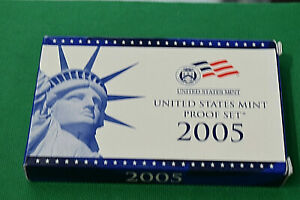 2005 US MINT PROOF SET WITH BOX AND COA 10 COINS INCLUDING 5 STATE QUARTERS