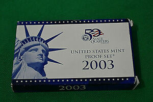 2003 US MINT PROOF SET WITH BOX AND COA 10 COINS INCLUDING 5 STATE QUARTERS