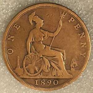 1890 UNITED KINGDOM  1 ONE PENNY COIN FREE COMBINED SHIPPING.