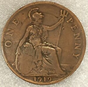 1919 UNITED KINGDOM  1 ONE PENNY COIN FREE COMBINED SHIPPING.