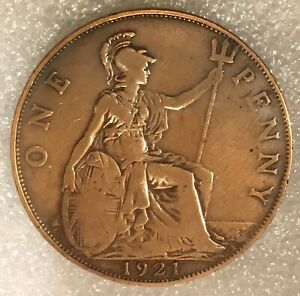 1921 UNITED KINGDOM  1 ONE PENNY COIN FREE COMBINED SHIPPING.
