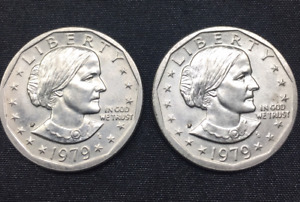 LOT OF TWO 1979 SUSAN B. ANTHONY DOLLARS WIDE RIM ERROR BU AND LUSTROUS
