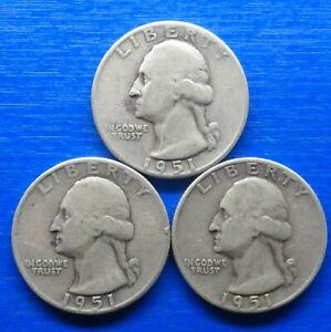 UNITED STATES 1/4 DOLLAR. 3 COINS 1951 SET. 1951  1951 D   1951 S    FINE