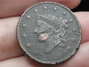 1836 MATRON HEAD LARGE CENT PENNY VG OBVERSE DETAILS