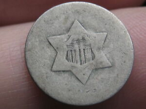 1852 THREE 3 CENT SILVER TRIME  LOWBALL HEAVILY WORN