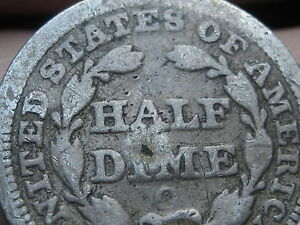1856 O SEATED LIBERTY HALF DIME VG DETAILS