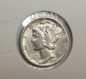 1942 D . MERCURY DIME . CHOICE AU . ALMOST UNCIRCULATED . NEARLY UNC