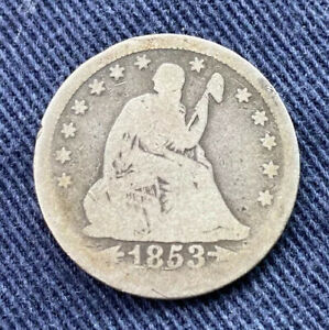 1854 SEATED LIBERTY QUARTER DOLLAR 25C WITH RAYS PARTIAL LIBERTY SILVER
