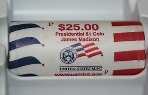 JAMES MADISON 2007 P PRESIDENTIAL SERIES DOLLAR COINS $25 US MINT ROLL JM3