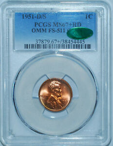 Click now to see the BUY IT NOW Price! 1951 D/S PCGS MS67 RD CAC FS 511 RED OMM OVER MINT MARK LINCOLN WHEAT CENT
