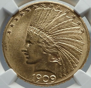 1909 UNITED STATES US INDIAN NATIVE AMERICAN HEAD EAGLE GOLD $10 COIN NGC I82203