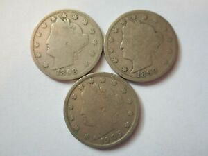 LIBERTY HEAD NICKELS 1898 1899 1905 3 COINS