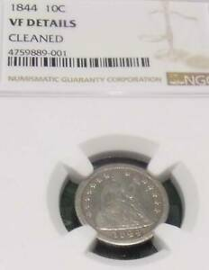 1844 LIBERTY SEATED DIME NGC GRADED VF DETAILS   DATE