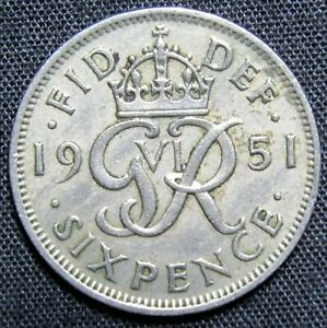1951 GREAT BRITAIN 6 PENCE COIN