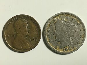 1914 P LINCOLN WHEAT CENT VG AND 1900 LIBERTY V NICKEL GOOD.