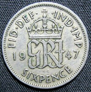 1947 GREAT BRITAIN 6 PENCE COIN