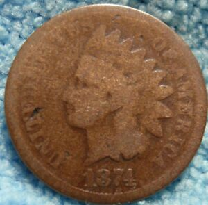 1874 INDIAN HEAD GREAT DETAILS   <><.