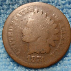 1874 INDIAN HEAD GREAT DETAILS   <><