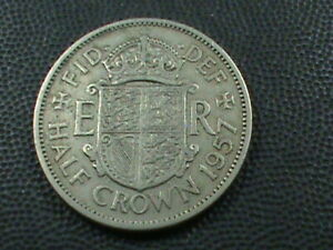 GREAT BRITAIN 1/2 CROWN 1957  COMBINED SHIPPING .10 CENTS USA  .29 INTERNATIONAL