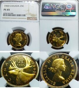 Click now to see the BUY IT NOW Price! WILD GOLDEN TONED   1960 CANADA 25 CENTS NGC GRADE PL 65   A TRULY UNIQUE COIN