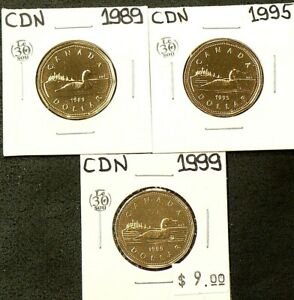 1989 1995 1999 CANADA $1 DOLLAR LOT OF 3 UNC FROM MINT SETS 5343
