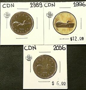 1989 1996 2006 CANADA $1 DOLLAR LOT OF 3 UNC FROM MINT SETS 5344