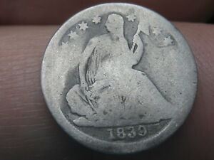 1839 P SEATED LIBERTY HALF DIME  ROTATED REVERSE MINT ERROR