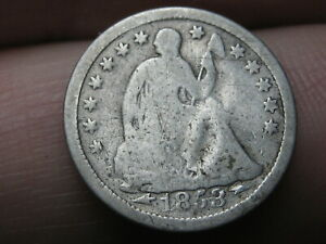 1853 P SEATED LIBERTY HALF DIME  WITH ARROWS GOOD DETAILS