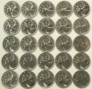 1976 TO 1980 CANADA 25 CENTS LOT OF 25 SPECIMEN UNC 1259