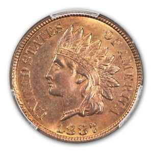 Click now to see the BUY IT NOW Price! 1887 1C INDIAN CENT   TYPE 3 BRONZE PCGS MS66RB