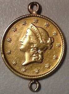 GOLD COIN JEWELRY   1853 $1 GOLD PIECE PENDANT A08